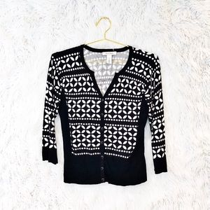 White House Black Market printed cardigan sweater